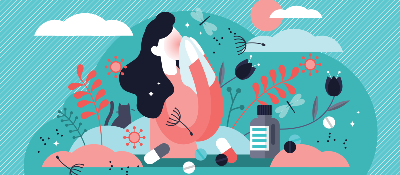 Illustration of a woman surrounded by nature struggling with allergies