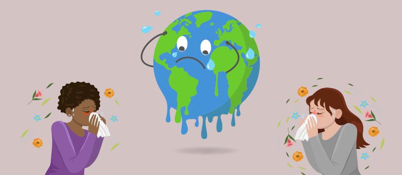 Allergy and earth cartoon